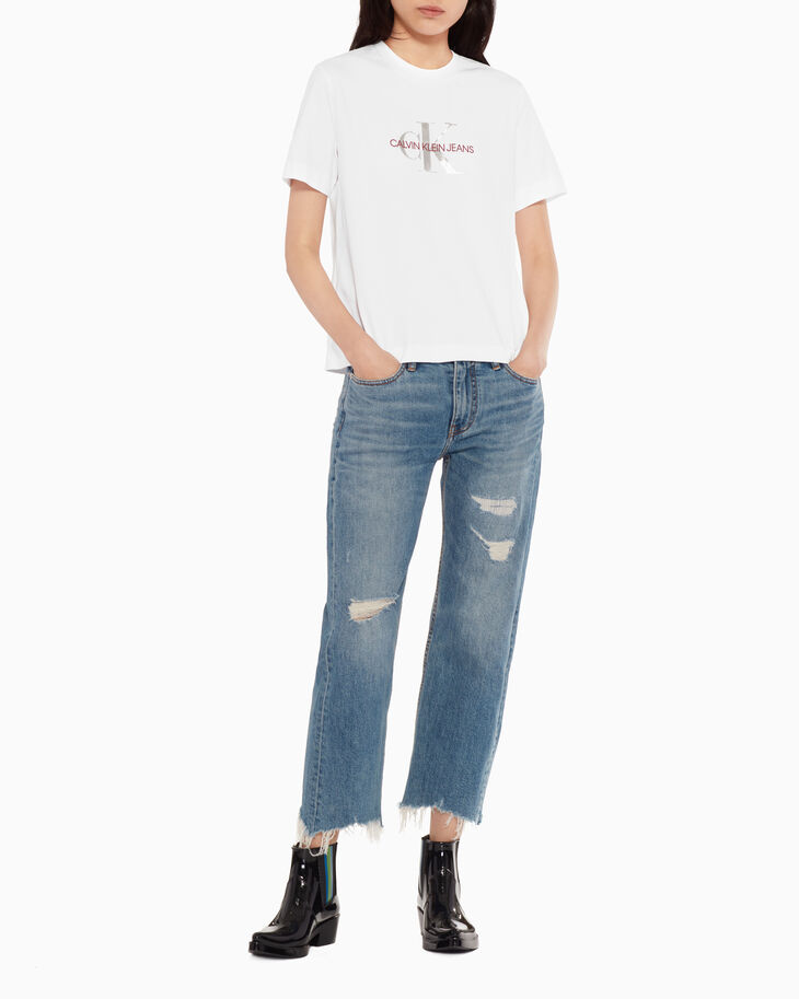 CALVIN KLEIN CKJ 031 MID RISE STRAIGHT CROPPED JEANS