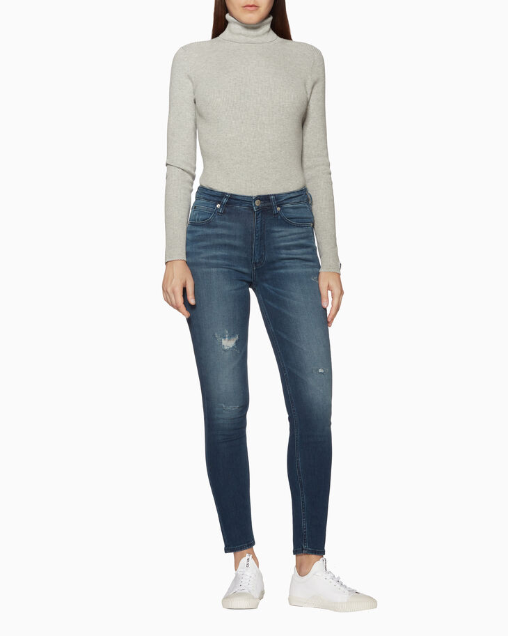 CALVIN KLEIN CKJ 010 HIGH RISE DISTRESSED SKINNY JEANS
