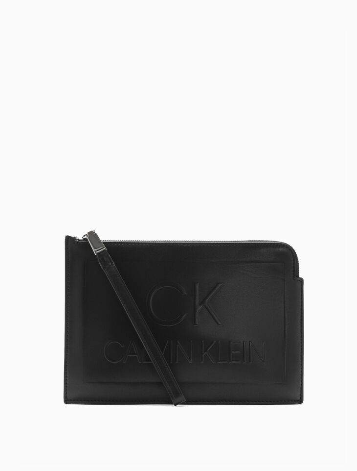 CALVIN KLEIN SMALL POUCH WITH DEBOSSED LOGO