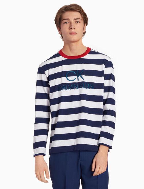 CALVIN KLEIN STRIPE ロゴ ロングスリーブ T シャツ