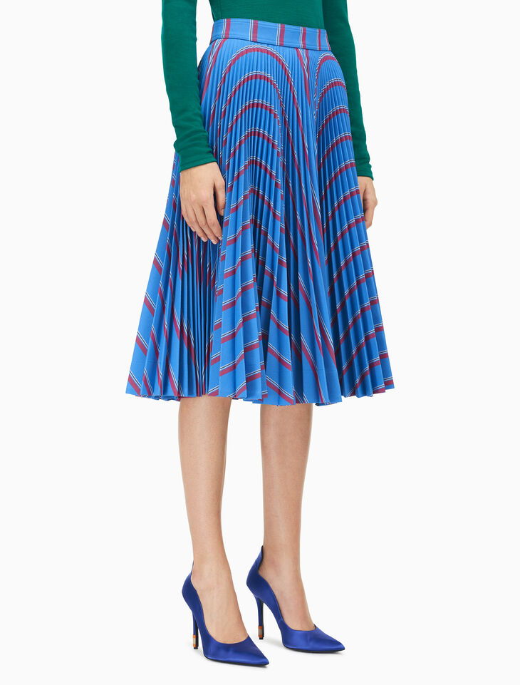 CALVIN KLEIN SOLEIL PLEATED SKIRT IN MULTISTRIPE HEAVY TWILL