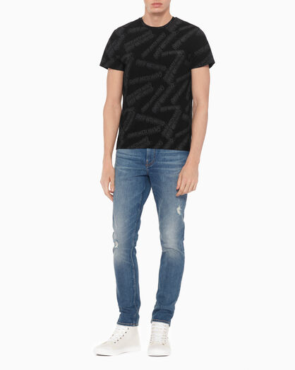 CALVIN KLEIN LOGO ALL OVER PRINT SLIM TEE