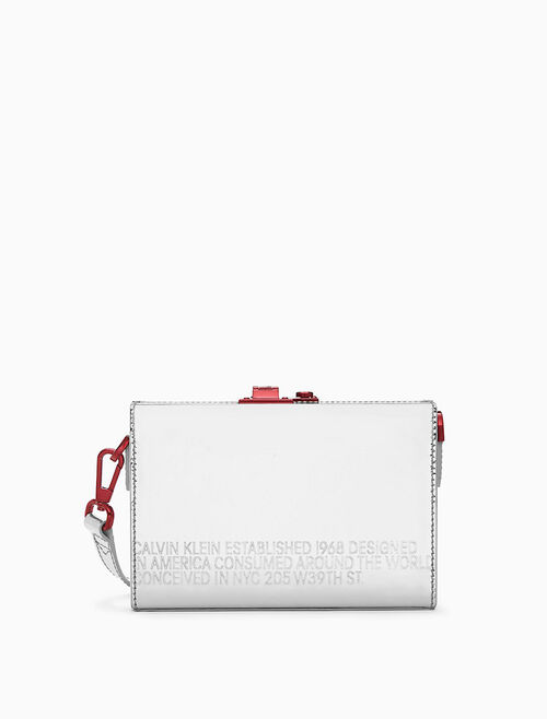 CALVIN KLEIN MINI BOX CLUTCH IN SHINY METALLIC LEATHER