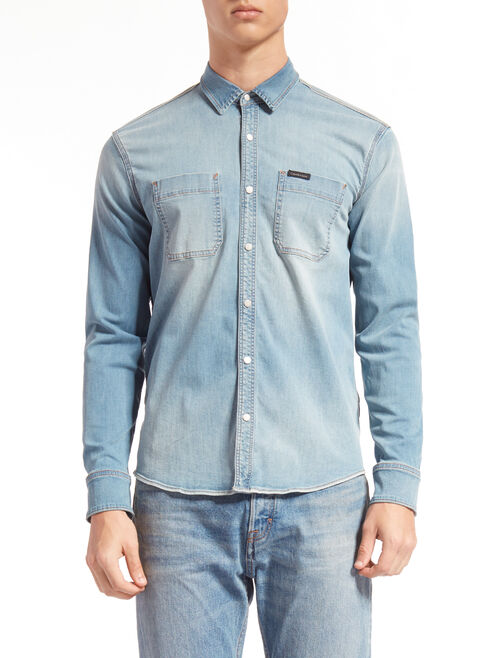 CALVIN KLEIN THOMPKINS BLUE UTILITY DENIM SHIRT
