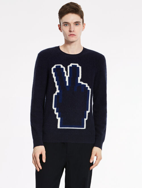 "CALVIN KLEIN SUPERSOFT BOILED CASHMERE Long Sleeves ""PEACE"" TOP"