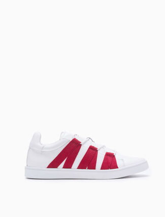 CALVIN KLEIN LACE UP SNEAKERS WITH NYLON BANDS