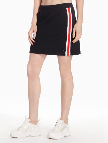 CALVIN KLEIN RE-EMERGE COLOR TAPE KNIT SKIRT