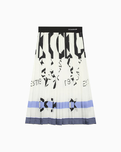 CALVIN KLEIN LOGO PRINT PLEAT SKIRT