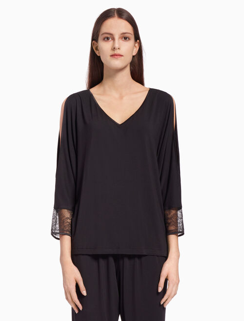 CALVIN KLEIN BLACK SILK KNIT TOP