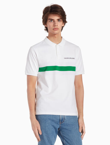 CALVIN KLEIN KNIT STRIPE POLO SHIRT