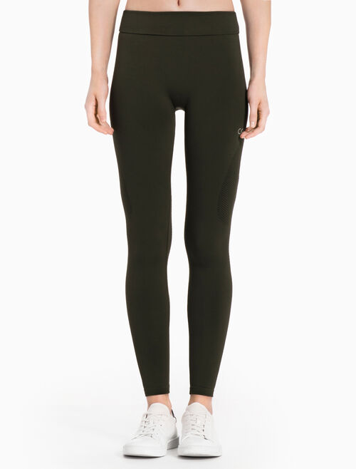 CALVIN KLEIN SEAMLESS LEGGINGS WITH MESH INSERTS