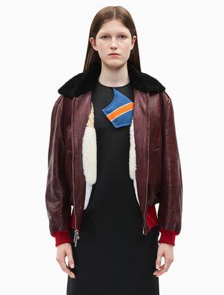 CALVIN KLEIN leather bomber jacket