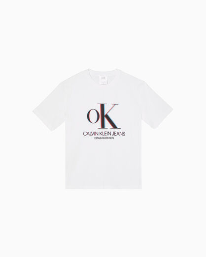 CALVIN KLEIN 3D OK LOGO 크루넥 티셔츠