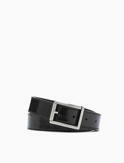 CALVIN KLEIN POLISHED ROLLER BUCKLE BELT