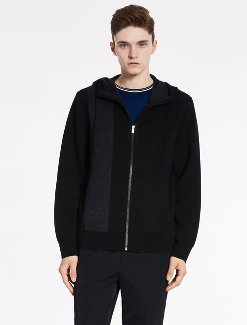 CALVIN KLEIN STRUCTURE WOOL Long Sleeves ZIP HOODED CARDIGAN