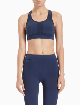 CALVIN KLEIN SEAMLESS MEDIUM-SUPPORT SPORTS BRA WITH REMOVABLE CUPS