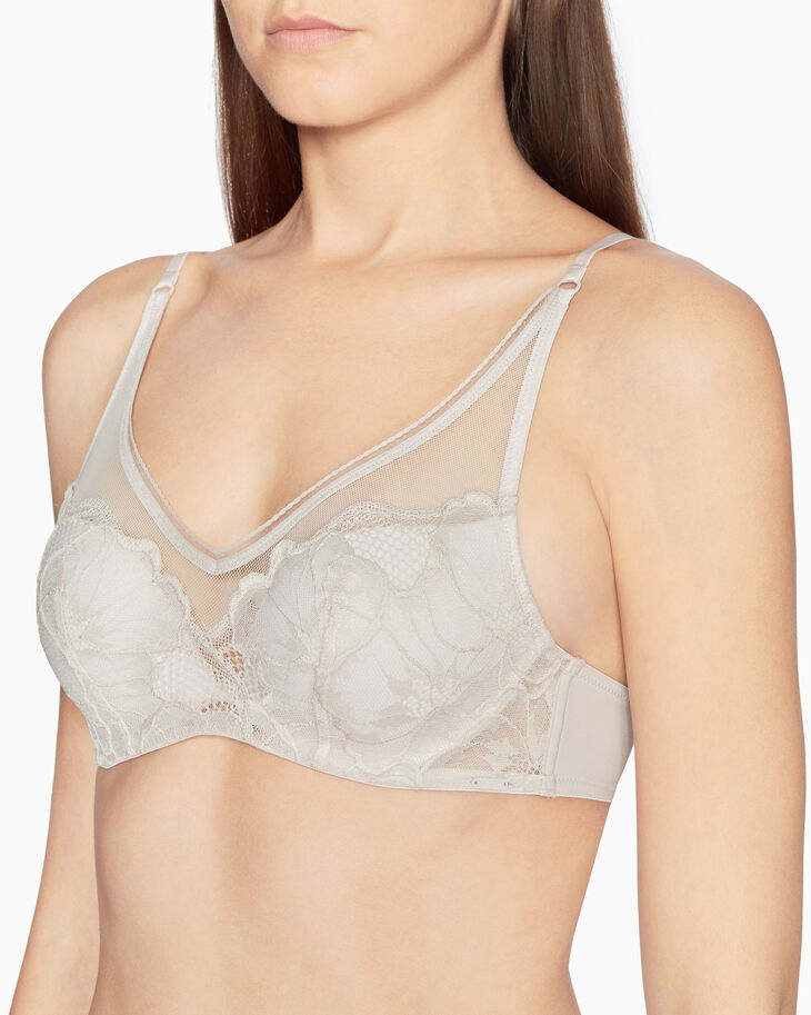 CALVIN KLEIN FLORAL LACE PUSH-UP PLUNGE BRA