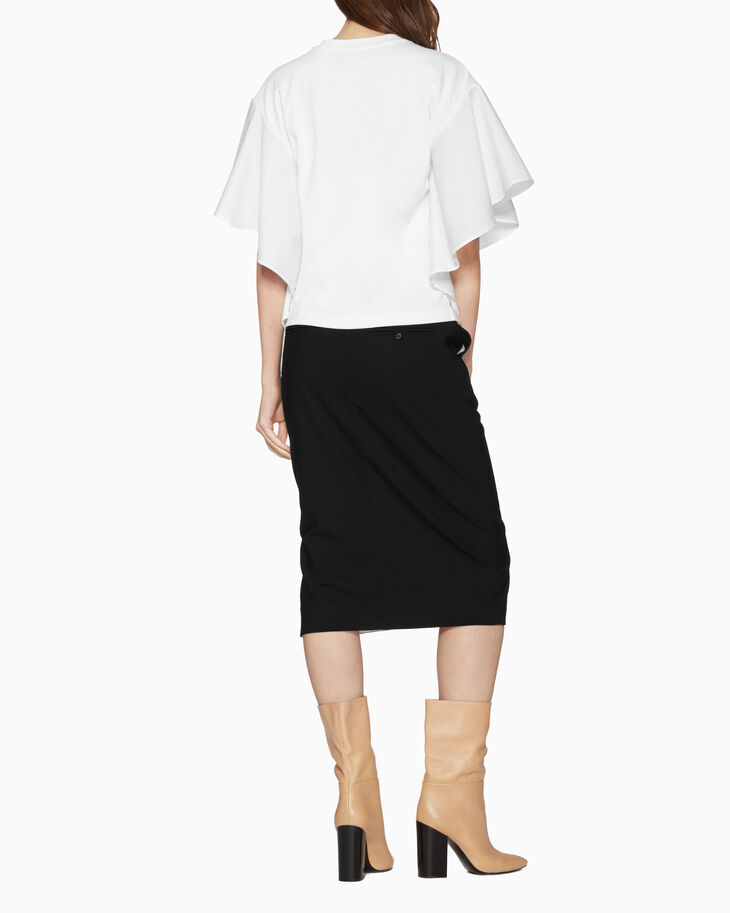 CALVIN KLEIN RUFFLE SLEEVE COTTON POPLIN TOP