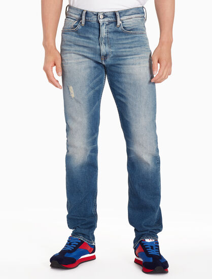 CALVIN KLEIN CKJ 035 MEN DISTRESSED STRAIGHT JEANS