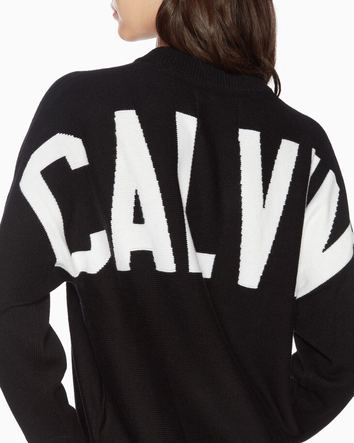 CALVIN KLEIN BACK LOGO KNIT SWEATER