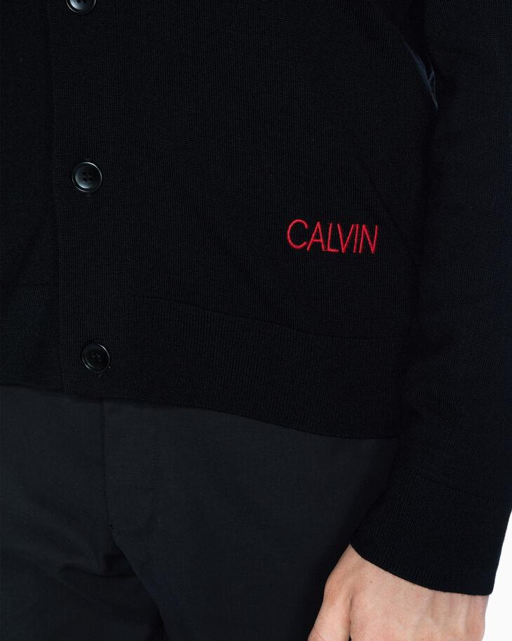 CALVIN KLEIN 자수 로고 메리노 카디건