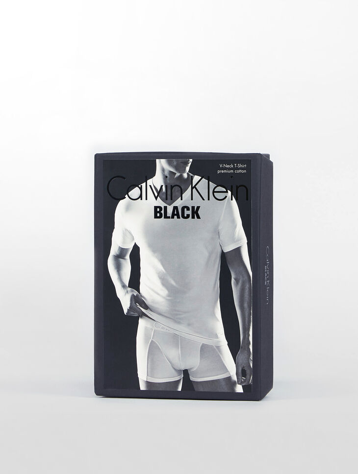 CALVIN KLEIN CK BLACK COTTON V-NECK SHORT SLEEVES TOP