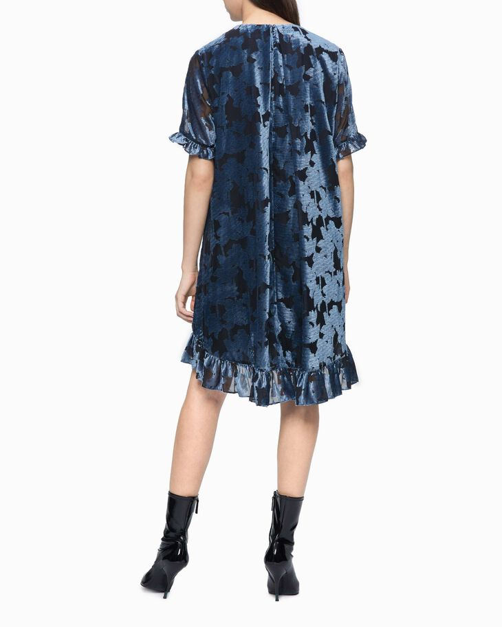 CALVIN KLEIN FLORAL PATTERN FLARED DRESS