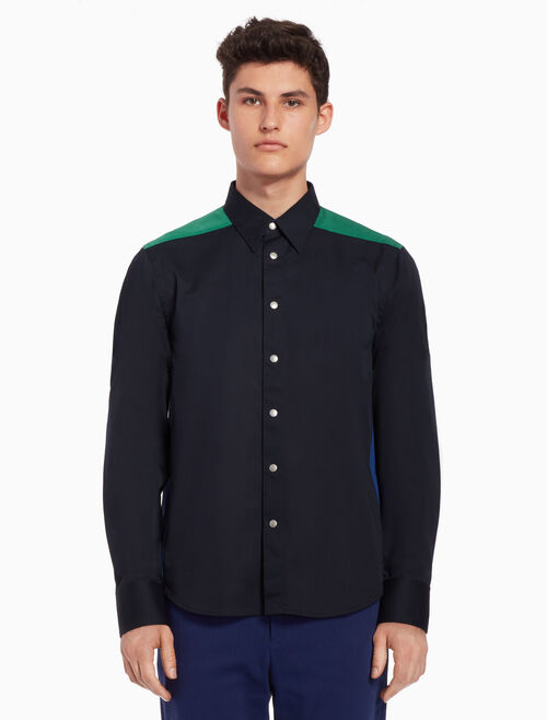CALVIN KLEIN Color block woven shirt