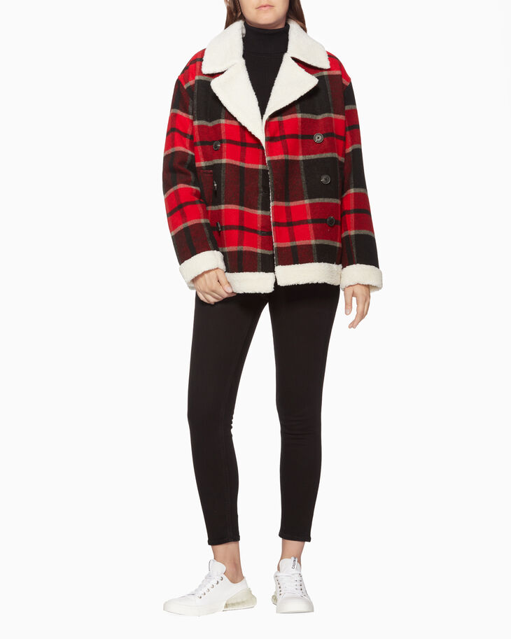 CALVIN KLEIN BUFFALO PLAID COAT