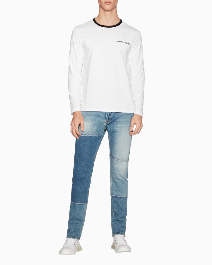 CALVIN KLEIN MONOGRAM LOGO TAPE LONG SLEEVE TEE