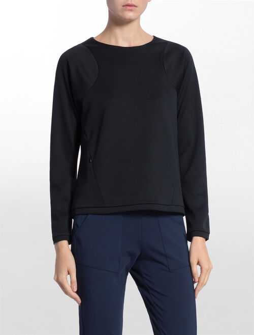 CALVIN KLEIN BONDED SWEAT PULLOVER WITH RAGLAN SLEEVES