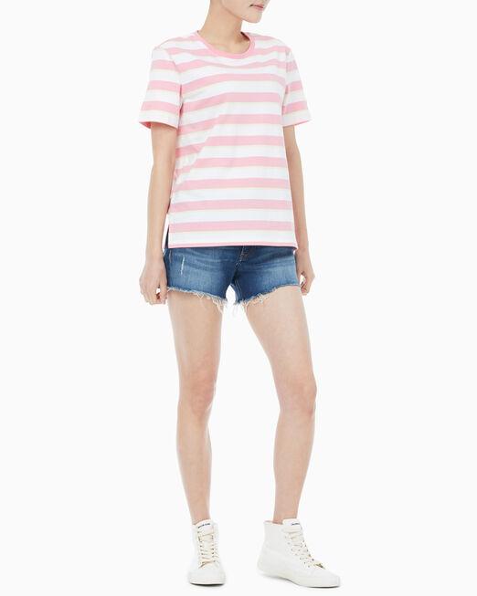 CALVIN KLEIN 여성 스트레이트 핏 멀티 스트라이프 반팔 티셔츠