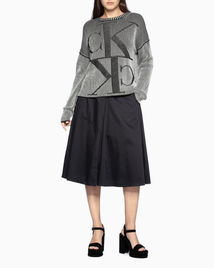 CALVIN KLEIN LACE-UP BOX PLEAT SKIRT