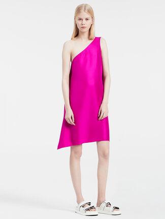 CALVIN KLEIN シルクツイル ワンショルダー ドレス