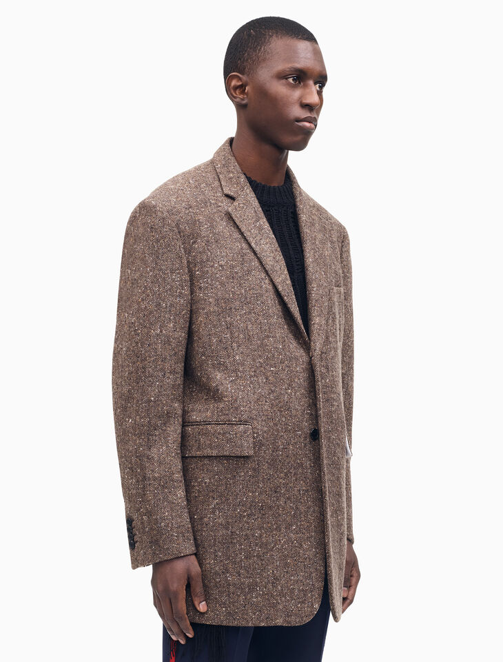 CALVIN KLEIN OVERSIZED SINGLE-BREASTED BLAZER IN TWEED WOOL