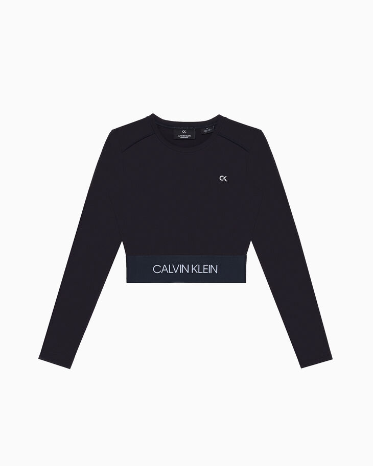 CALVIN KLEIN ACTIVE ICON LOGO CROPPED LONG SLEEVE TEE