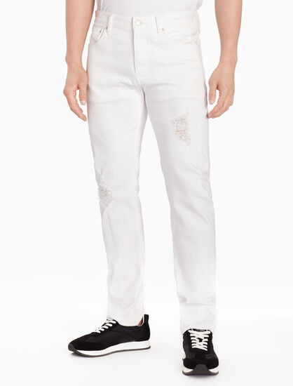 CALVIN KLEIN CKJ 026 WHITE DISTRESSED SLIM JEANS