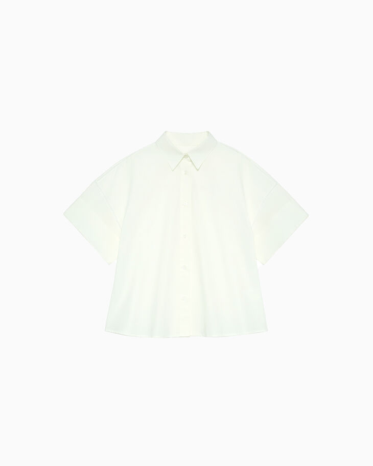 CALVIN KLEIN CONSTRUCTED POPLIN SHIRT WITH FAGOTTING DETAILS