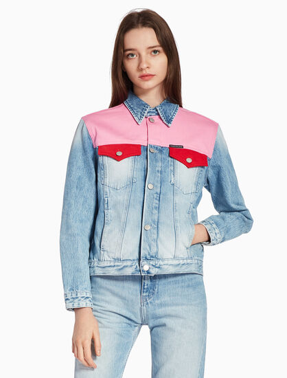 CALVIN KLEIN COLOR BLOCK TRUCKER JACKET