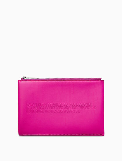 CALVIN KLEIN EMBOSSED SMALL SOFT POUCH