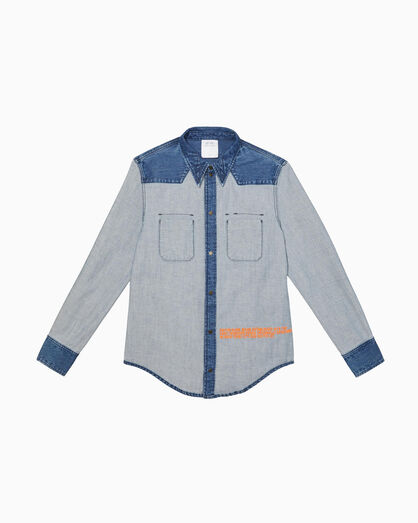 CALVIN KLEIN INSIDE OUT INDIGO STONE WESTERN SHIRT JACKET