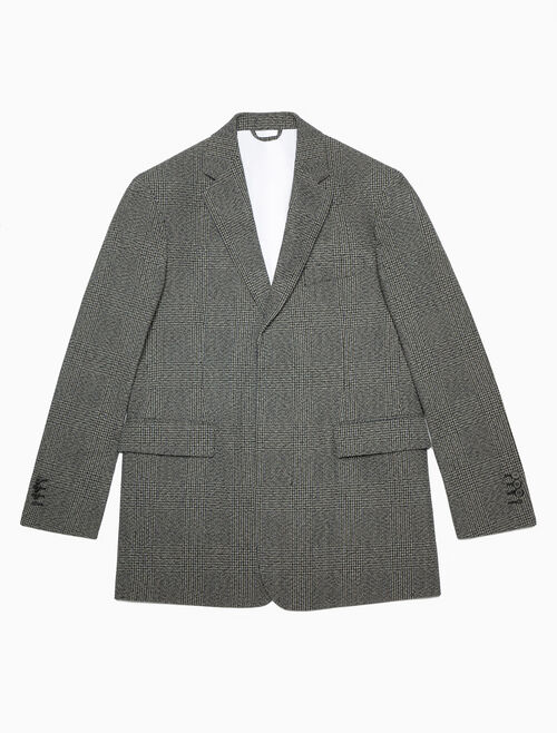 CALVIN KLEIN OVERSIZED SINGLE-BREASTED BOXY BLAZER IN GLEN PLAID