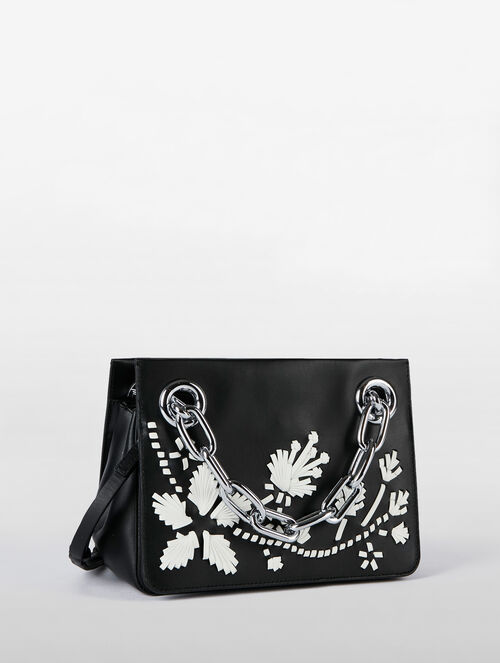 CALVIN KLEIN FLARED SMALL SATCHEL WITH CHAIN AND LACING