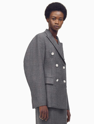 CALVIN KLEIN Double Breasted Blazer With Curved Sleeves In Check Wool