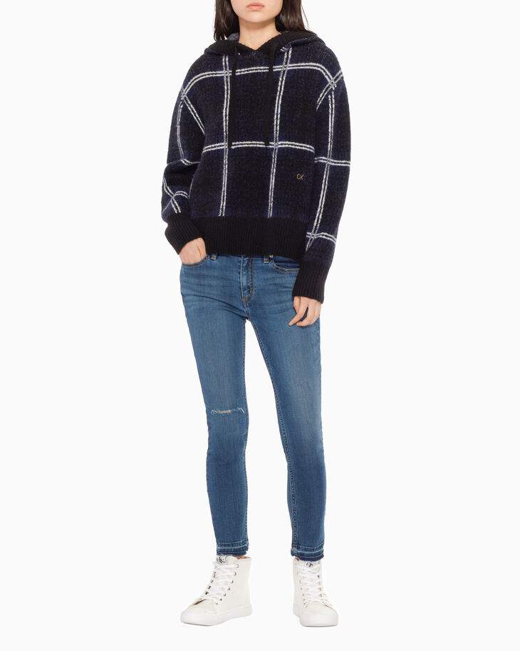 CALVIN KLEIN PLAID HOODED SWEATER