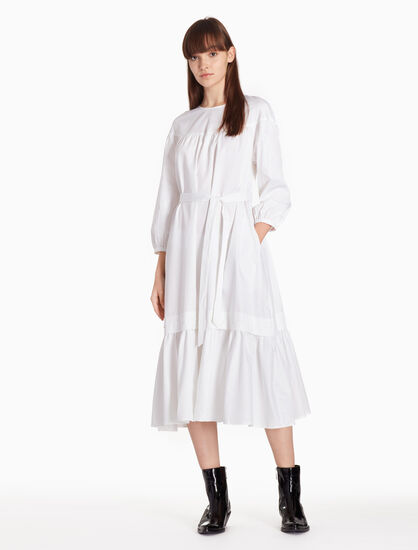 CALVIN KLEIN PEPLUM DRESS WITH BELT