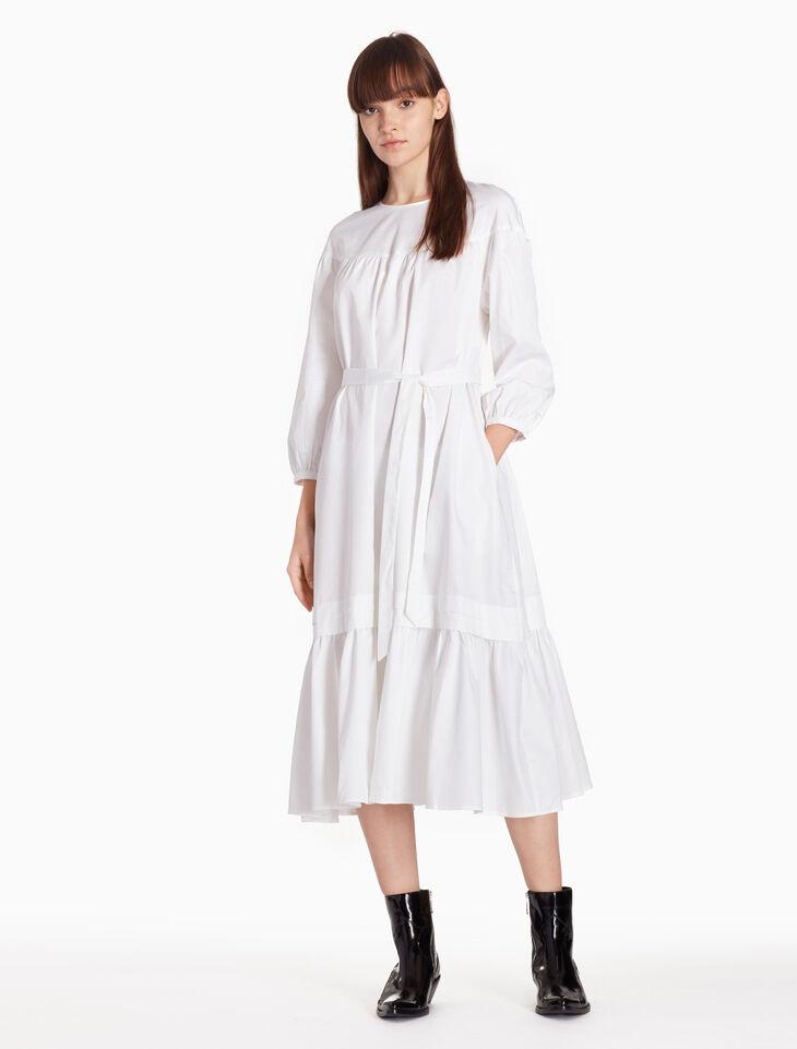 CALVIN KLEIN 페플럼 벨트 드레스