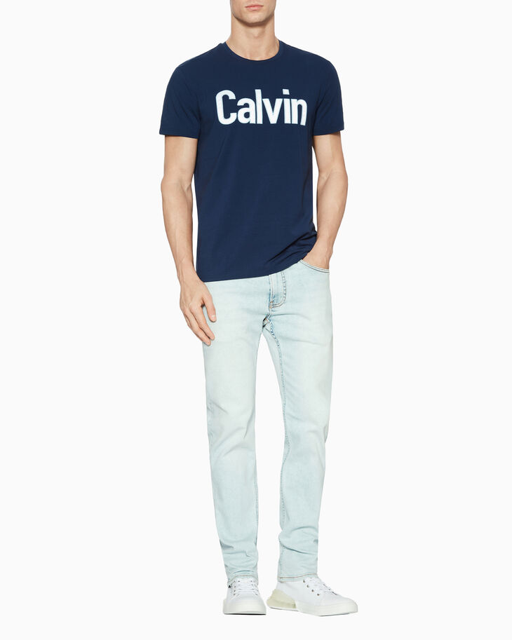 CALVIN KLEIN SATIN LOGO BOX 티셔츠