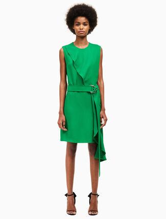 CALVIN KLEIN overlap drape sleeveless dress
