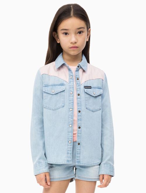 CALVIN KLEIN 여아용 우븐 콘트라스트 셔츠